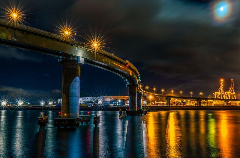 Nightscape bridge lights sea moon nature japan  Dragon Road photo preview