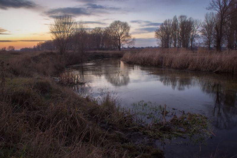 вечер, пейзаж, река, волчья, харьковская обл., Вечер на реке Волчьяphoto preview