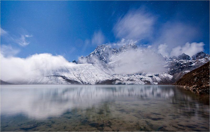 горы,озеро,ночь,полнолуние,гималаи magic lakephoto preview