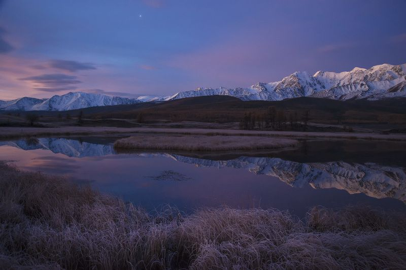 russia, landscape, nature, altai mountains Frosty morning with pink cloudsphoto preview