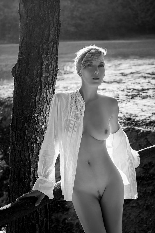 model, nude, naked, glamour, woman, female, black and white, body, sexy, sensual, natural light, curves, portrait, erotica, fine art, blondie, nature, autumn, fashion nude, Autumnphoto preview