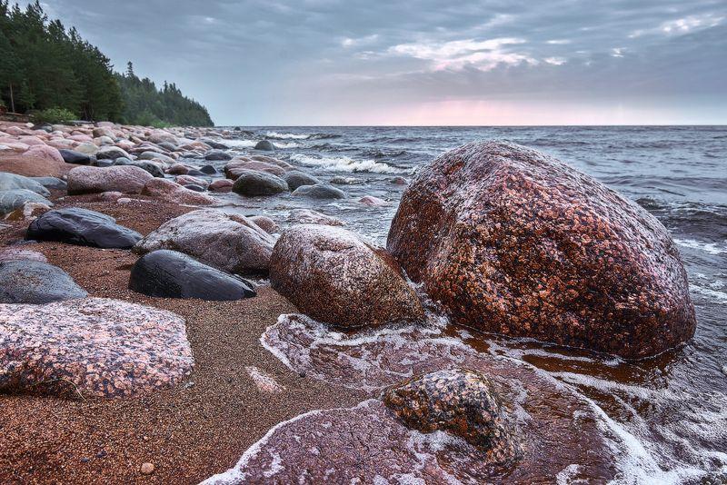 пейзаж, валаам, озеро, вода, небо, тучи, ладога, россия, остров ***photo preview