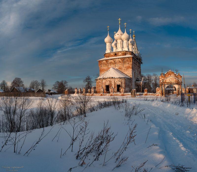 дунилово, ивановская область, рассвет, туман, покровский собор, храм, монастырь, шуйский район, зима, зимний пейзаж, утро \