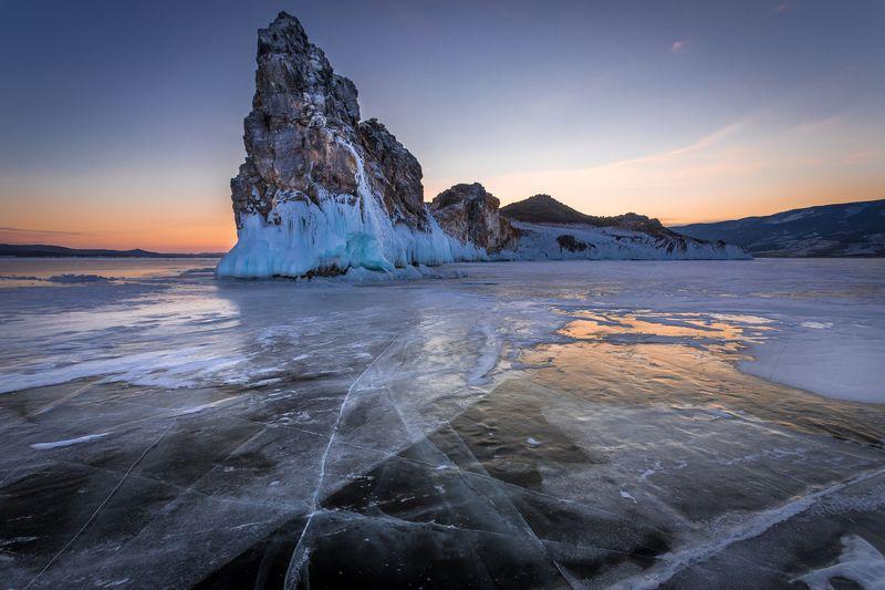 байкал, лёд, закат, зима, остров, ольтрек Ольтрекphoto preview