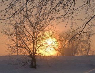 Восход и туманная изморозь.