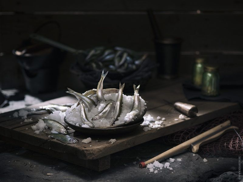 smelt, fish, stillife, noir, rustic SMELT FISHphoto preview