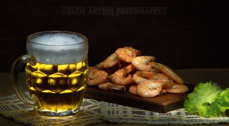 пиво, натюрморт, креветки Пиво с креветкамиphoto preview