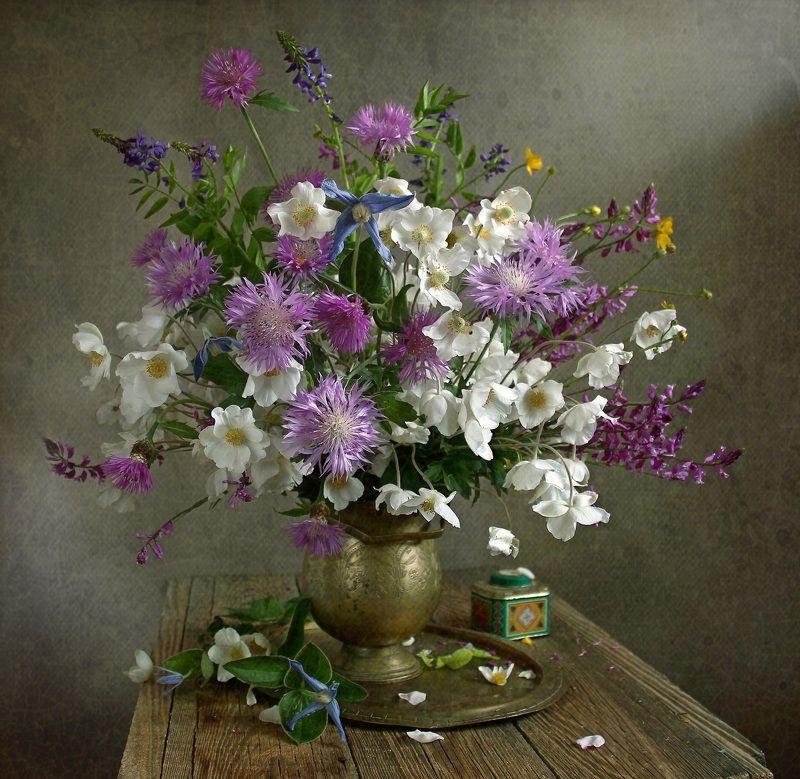 весна, натюрморт, букет цветов, анемоны,васильки, марина филатова Невесомыми красками света...photo preview