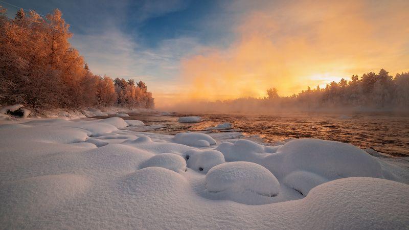 кольский, север,заполярье, пиренга, зима, Зимний день.photo preview