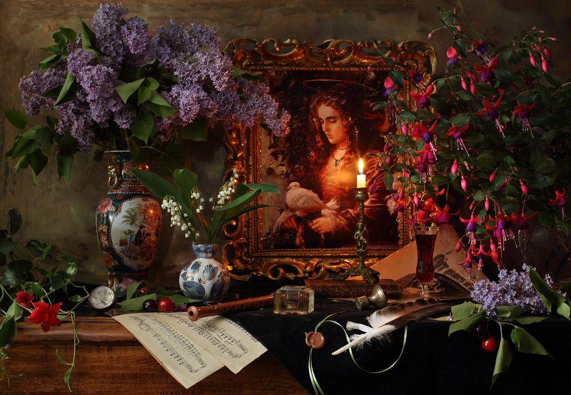 цветы, картина, живопись, девушка, сирень, музыка, свеча, свет Натюрморт с цветами и картинойphoto preview
