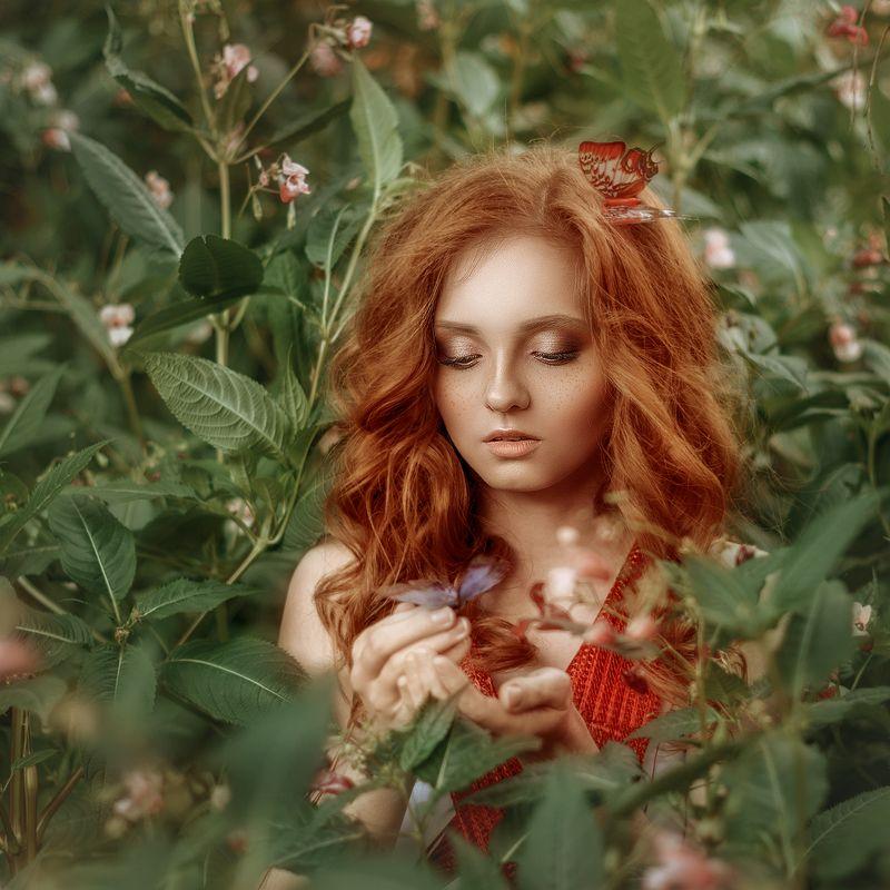девушка, портрет, рыжие волосы, сказка, лето, весна, красный, зеленый, girl, portrait, red hair, fairy tale, spring, summer, red, green photo preview