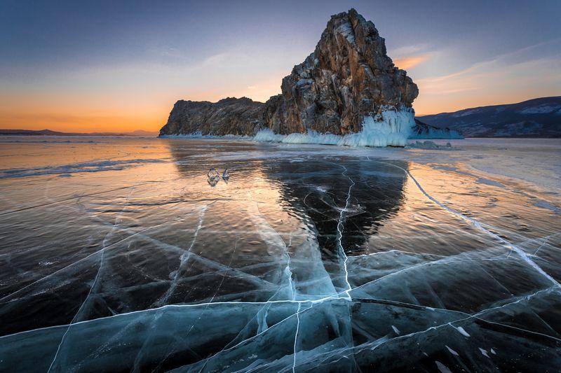 байкал, лёд, трещины, закат, зима, остров, ольтрек Ольтрек_2photo preview