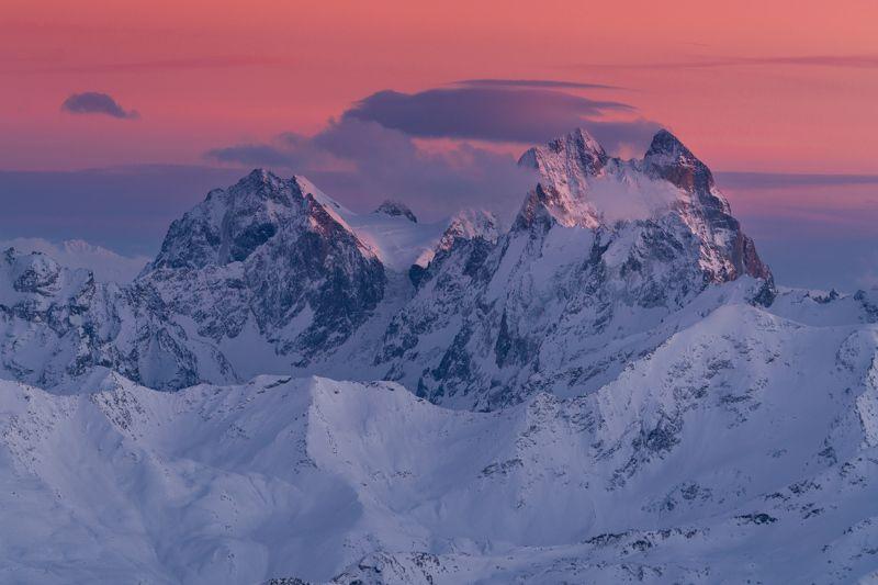 ушба, кавказ, зима, вечер, закат Ушбаphoto preview