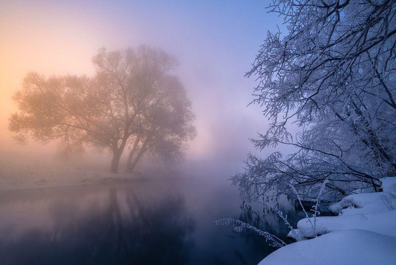 утро, рассвет, природа, туман, река, мороз, зима, пейзаж, Oppositionphoto preview