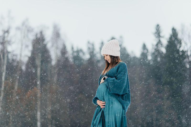 беременная, портрет, девушка, беременность, зима ...photo preview