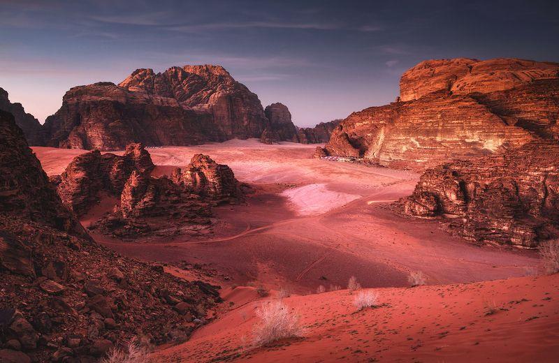 mountains, jordan, landscape, wadi rum, sunset, desert, light, colors, winter, warm, tent, composition, horizon, sand Martian redphoto preview
