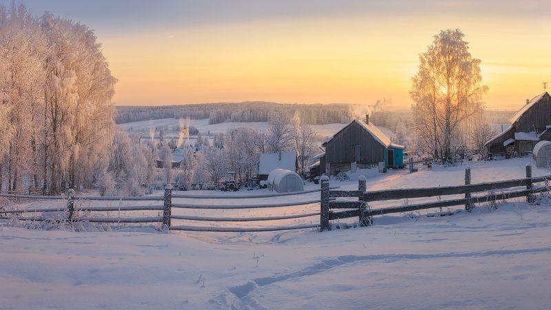 зима, изгородь, снег, всехсвятское Закат самого короткого дня в годуphoto preview