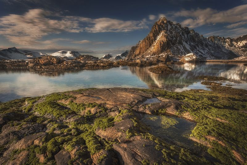 lofoten, islands, norway, lanscape, sea, water, mountains, rocks, april, clouds, sky,  Lofoten morningphoto preview
