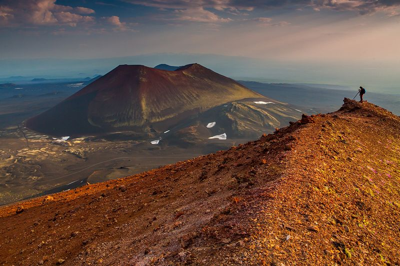камчатка, пейзаж, лето, закат, природа, путешествие, фототур, вулкан, Закат над Алаидомphoto preview