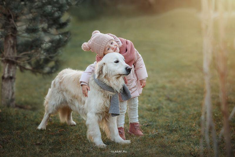 портрет, зима, winter, девочка, girl, животное, собака, ретривер, dog, друзья, happy, любовь, kove, happiness, сказка, волшебство Маша и Ройphoto preview