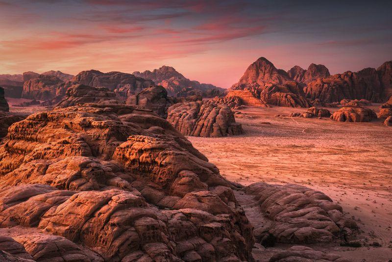 mountains, jordan, landscape, wadi rum, sunset, desert, light, colors, winter, warm, tent, composition, horizon, sand Facesphoto preview