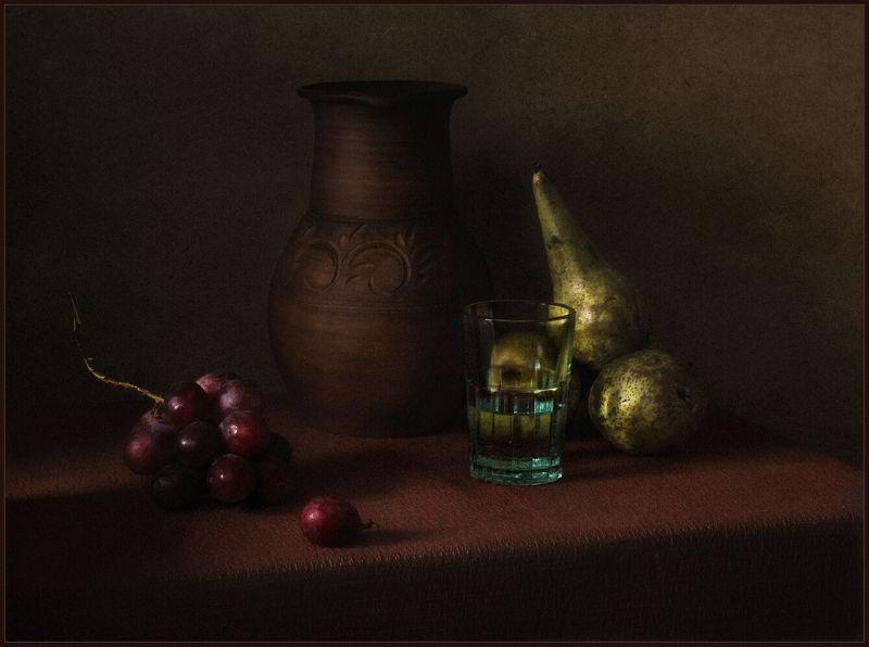 натюрморт, still life, груши, стакан, виноград, кувшин ***photo preview