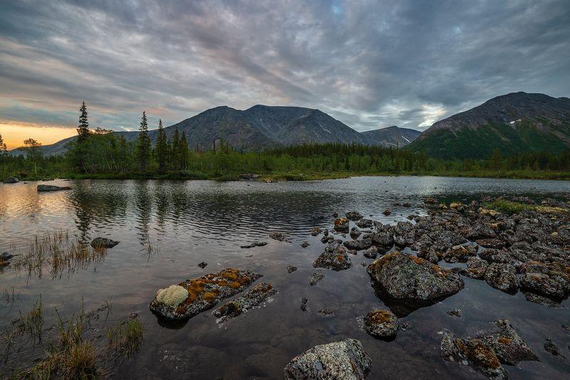 хибины, лето, кольский, заполярье, север, ночь, полярный день, Полночь.photo preview