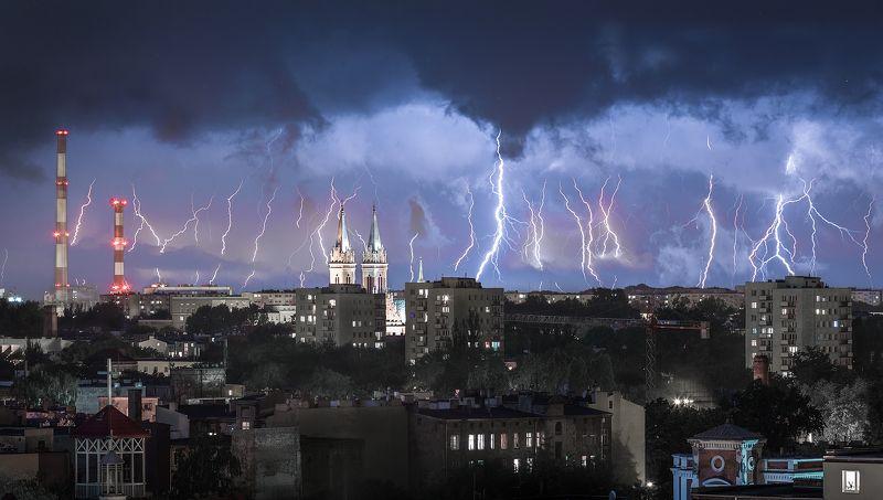 storm, city, lodz, night, light, poland, architecture, landscape Stormphoto preview