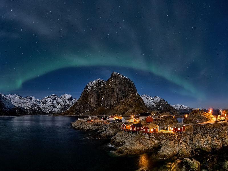 aurora borealis, norway, lofoten, night, sea, rosks, winter, snow, mountain Aurora borealisphoto preview