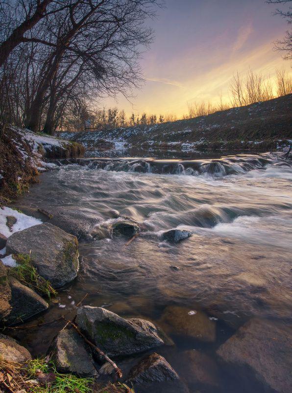 река, одра, закат, вечер, river, bed, sunset, olympus, evening Вечер на рекеphoto preview