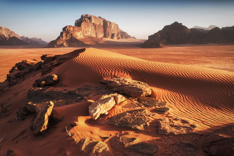 mountains, jordan, landscape, wadi rum, sunrise, desert, light, colors, winter, warm, tent, composition, horizon, sand Ripple marksphoto preview