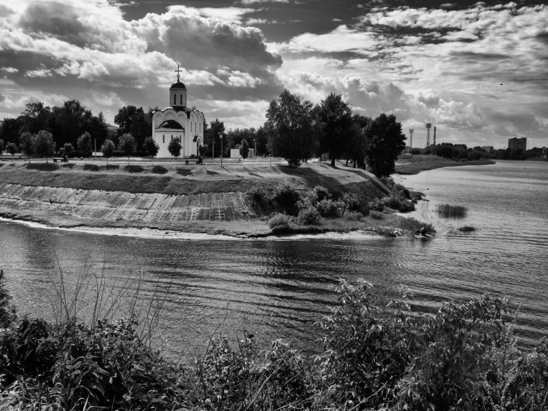 Black and white, Monochrome, Landscape, River, Church, Intensity, Tver, Russia, City On the other side фото превью