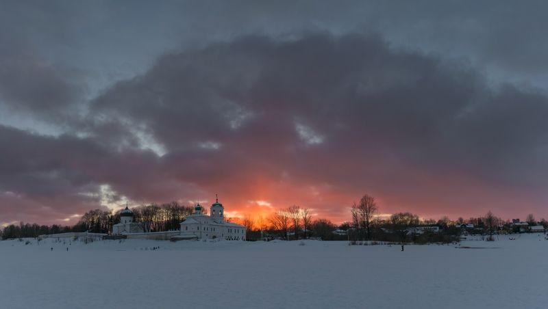 pskov, pleskau, псков, церковь, landscape, pskovregion, монастырь, sunset, закат, вечер, snow, frost, winter, зима, снег, мороз Закатphoto preview