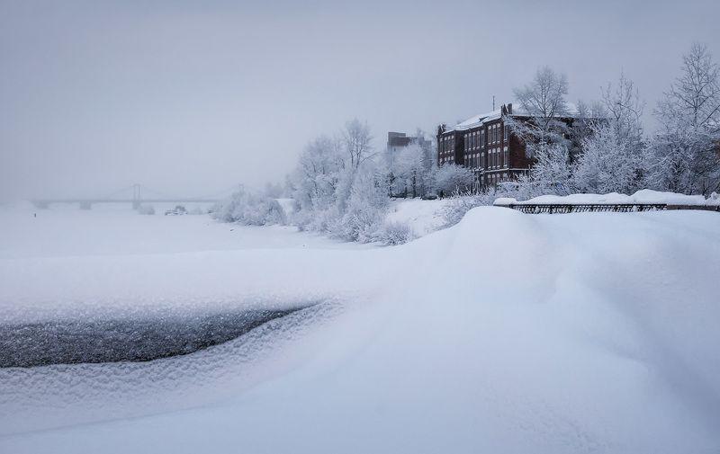 зима, иней, холод, мороз, деревья, река, мост, дома, вечер, город, архангельск, набережная - 30, набережная, Архангельскphoto preview