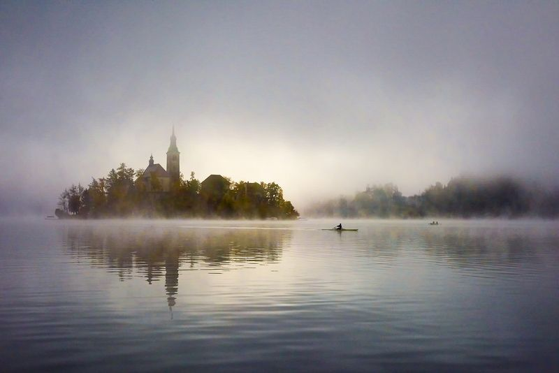 lake, bled, slovenia, mists, church, morning In the morning mistsphoto preview
