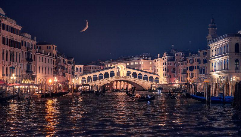 Venice Rialto bridge by nightphoto preview
