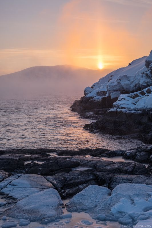 баренцево море,териберка,утро,зима,крайний север,заполярный круг,пейзаж,россия,,берег,снег,лёд,рассвет,камни,солнце,туман,пар,мороз, Восходящее заполярное солнцеphoto preview