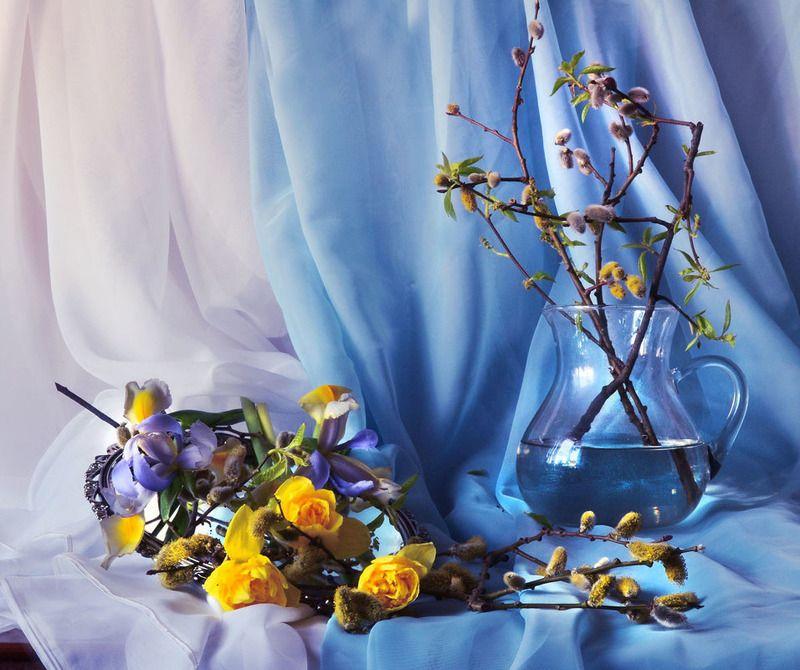 still life, натюрморт, цветы, фото натюрморт, февраль,  зима,настроение, зеркало, отражение, верба Как хорошо, когда в душе весна...photo preview