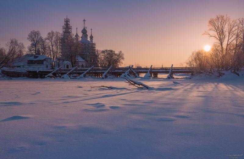 теза, холуй, ивановская область, зима, зимний пейзаж, мороз, утро, храм, мост, мост через тезу \