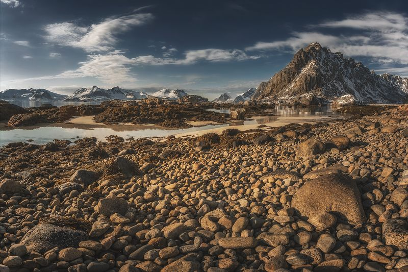 lofoten, islands, norway, lanscape, sea, water, mountains, rocks, april, clouds, sky, stones,  Lofoten morningphoto preview
