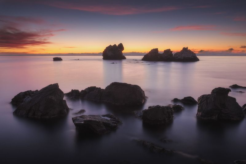 россия, крым, полуостров, пейзаж, природа, черное море, длинная выдержка, берег, камни, восход солнца, рассвет Черноморский рассветphoto preview