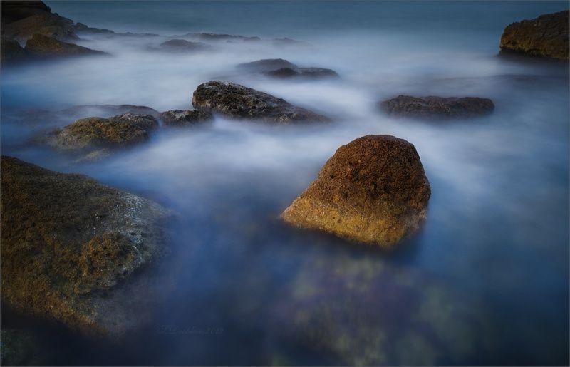 закат, зима, скалы, море, пейзаж, длинная экспозиция Прикосновение последнего лучаphoto preview