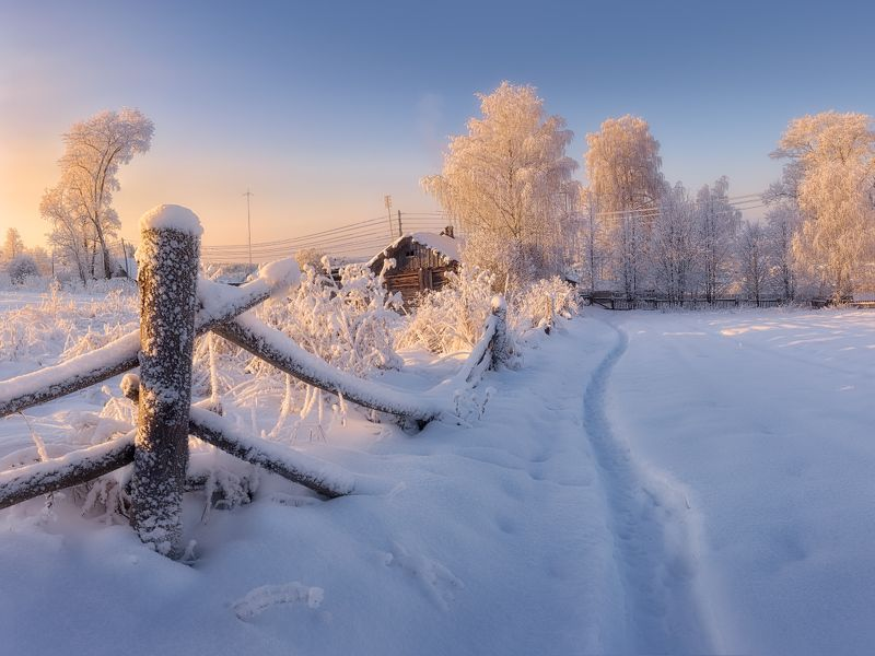 зима, холод, изгородь Зимовье старой изгородиphoto preview