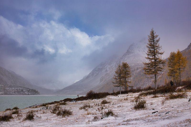 алтай,аккем,озеро,погода,снег,сентябрь Хмурый день на Аккемском озереphoto preview