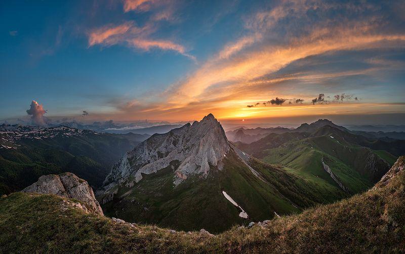 закат, большой тхач, малый тхач, асбестная, горы, пейзаж, рассвет, кавказ, адыгея, ачешбоки Природный заповедник \