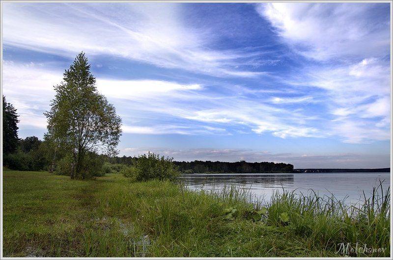 екатеринбург, озеро, шарташ, голубое, небо, облака, дерево, трава, вода Шарташphoto preview