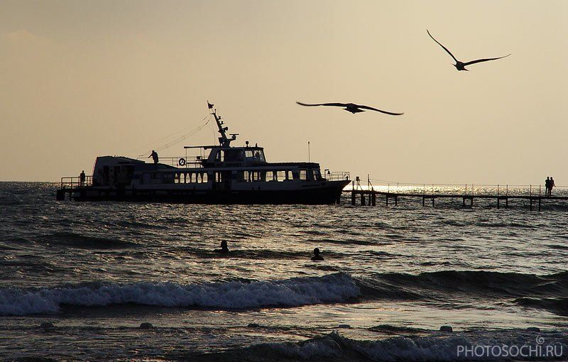 лето, море, вечер, теплоход, черное море, анапа Джеметеphoto preview