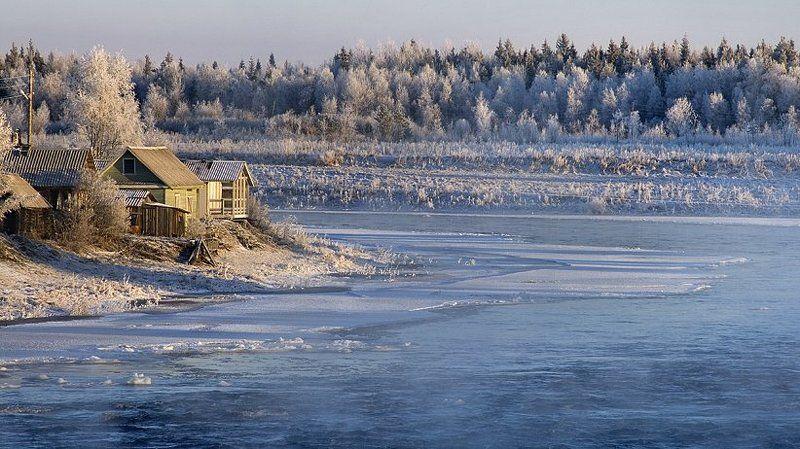 шуя, карелия, зима, снег, солнце, вода, лед Шуяphoto preview