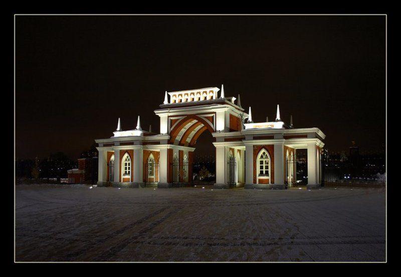 night moscow, вход в царицино, ночная москва Night Sityphoto preview