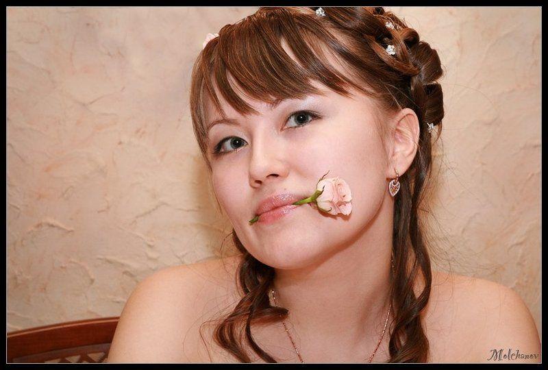 девушка невеста роза цветы свадьба Два цветкаphoto preview